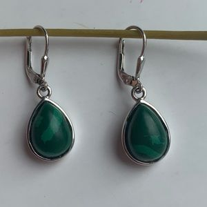 Jewelry - Malachite Sterling Silver Green Lever Earrings NWT
